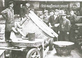 Pouring of first magnesium at Clifton Junction, 1934